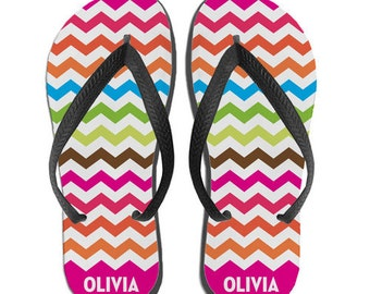 Flip Flops for Girls, Kids Personalized Flip Flops, Rainbow Chevron, Custom Flip Flops
