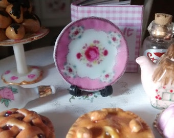 Dolls House miniature Shabby Chic pink with roses Ceramic Plate