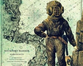 Victorian Deep Sea Diver Steampunk 8x10 Print with New England Map Background