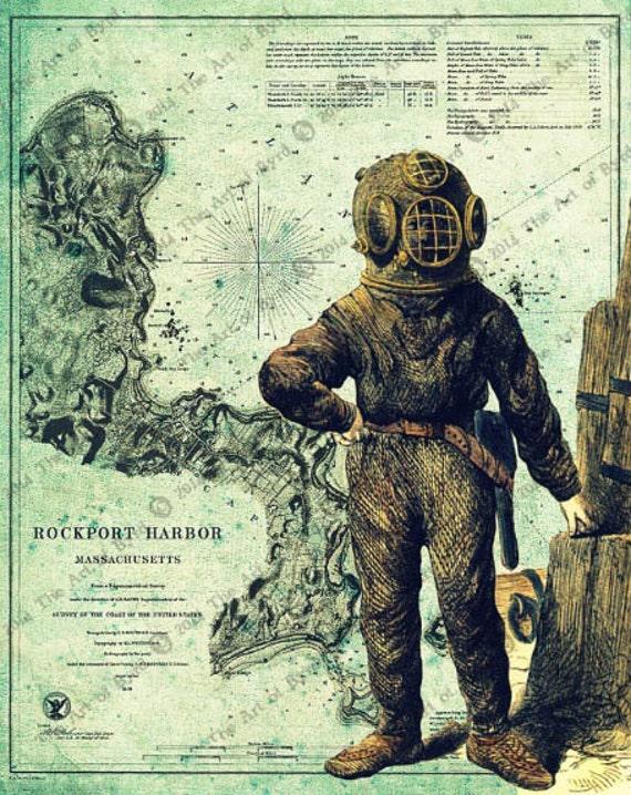 Victorian Deep Sea Diver Steampunk 8x10 Print