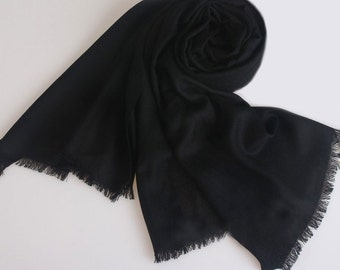 Large Wool Scarf - Black Wool Scarf - 80 Thread Count Wool Scarf - Solid Color Wool Scarf - BS201