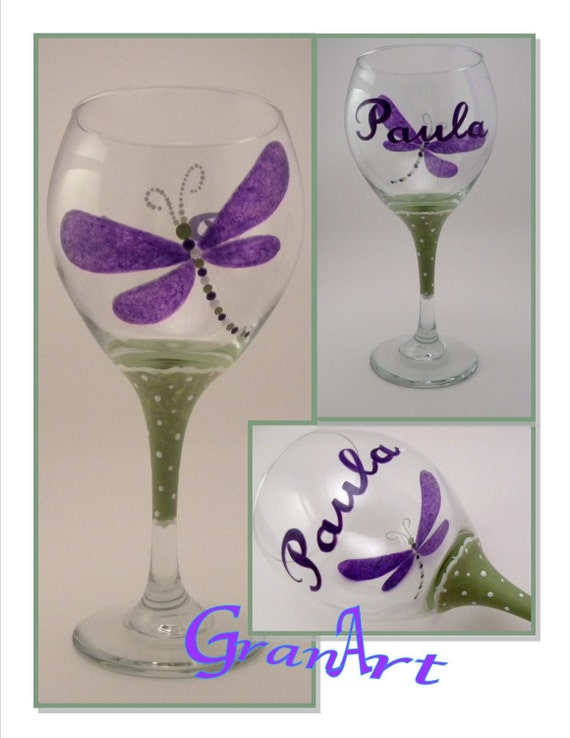 Items similar to dragonfly purple wine glass dragonfly for Painted wine glasses with initials
