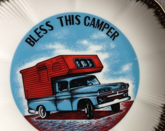 Bless This Camper - Vintage Collector's Plate - excellent condition - blue pickup with red camper