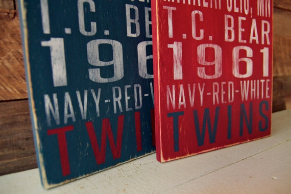 Minnesota Twins Distressed Wood Sign--Great Father's Day Gift!