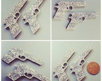 2x laser cut acrylic large gun cabochons (silver glitter)