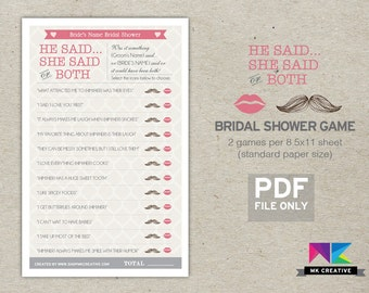 Personalized Bridal Shower Game : He Said She Said Game