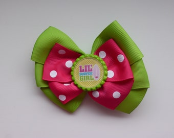 Lime Green and Pink - Lil' Surfer Girl Hair Bow