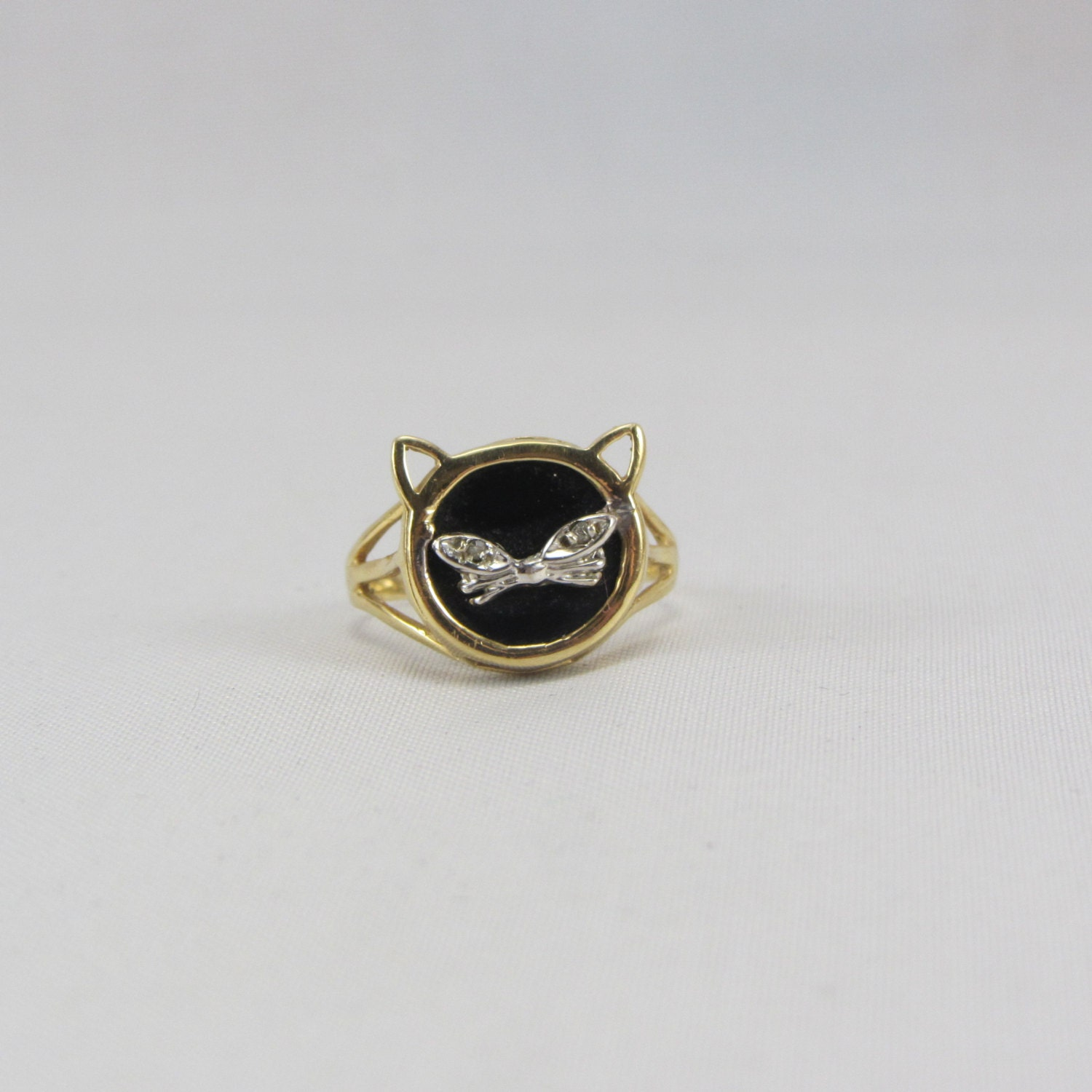 Vintage 14k Gold Cat Ring With Onyx And Diamond Eyes Size 7