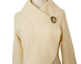Women Bridal Boiled Wool Wedding Jacket size XS-XL