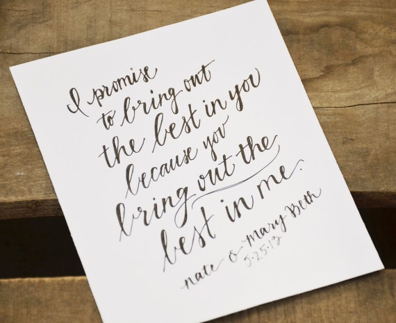 Custom Personalized Handwritten Wedding Vows By