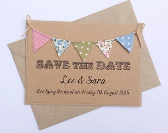 Bunting Save The Date Wedding Invitation, Brown Kraft Card with Country cottage bunting