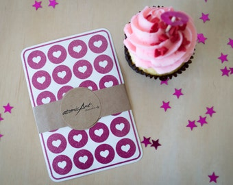 24 Heart Stickers in Hot Pink Glitter - Handmade Envelope Seals - Wedding invitations & favours - Scrapbooking - Candy Hershey Kiss