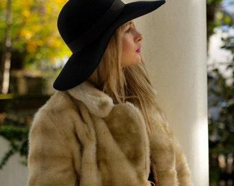 70's Luxe Navy floppy hat in 100 percent wool felt