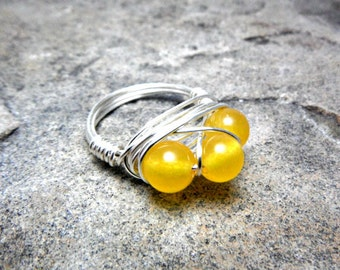 Yellow Jade Ring, Cluster Ring, Wire Wrapped Ring, Chunky Ring, Yellow Stone Ring, Wire Wrapped Ring, Wire Wrapped Jewelry Handmade