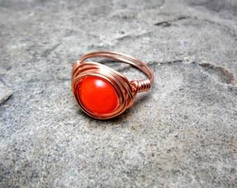 Neon Orange Jade Ring, Neon Orange Ring, Wire Wrapped Ring, Copper Ring, Jade Stone Ring, Wire Wrapped Jewelry Handmade, Orange Stone Ring