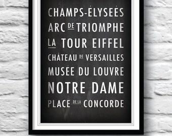 Paris decor, Paris street sign, Paris poster, Wall Decor, Housewares, Customisable place names, Art print