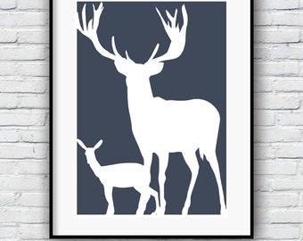 Deer poster, Contemporary art, Modern, Minimalist art, Wall Decor, Poster