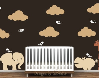 Elephant, Giraffe, and Hippo Wall Decals for Nursery
