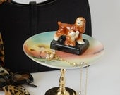 TAFFY Dog Jewelry Pedestal, Cocker Spaniel Trinket Dish, Momma Dog and Puppy Jewelry Dish, Animal Decor, Mother and Child, Mother's Day