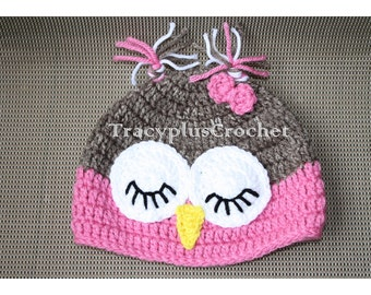 Crochet Sleepy Owl beanie. Sleepy Owl hat. For a boy or girl. Handmade to order.