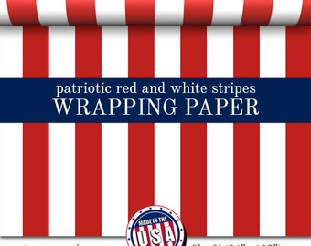 Gift Wrap Patriotic Red And White Stripes Pattern | Custom Wrapping Paper In Two Sizes Great For Any Occasion. Made In The USA