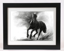 Horse drawing PRINT unique horse pencil art, GICLEE PRINT, galloping black horse in storm home decoration, black horse illustration