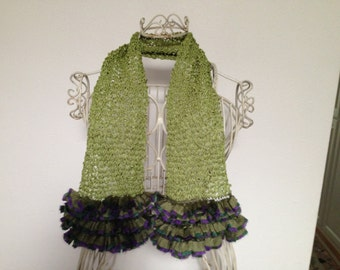 Hand Knit Ripple Scarf with Lacey Fringe