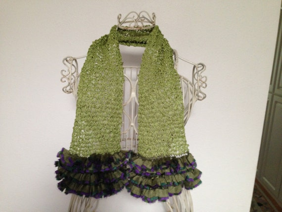 Ripple Scarf Knitting Pattern : Hand Knit Ripple Scarf with Lacey Fringe