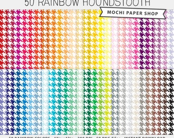 Rainbow Houndstooth Scrapbooking Paper Digital Download, Bright, Pastel & Earth-Tone Colors, Cardmaking, Instant Download PNG Files