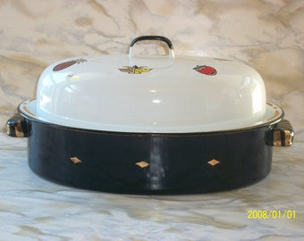 Signed Georges Briard Ambrosia Covered Rosting Pan 1950s Enamelware by Jascha Brojdo