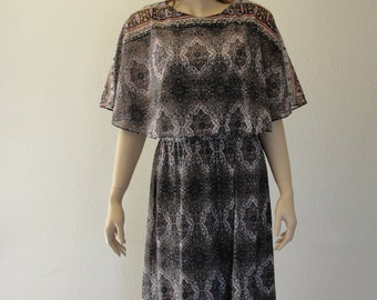 Vintage 1970s earthtone floral caplet sheer dress  MEDIUM  LARGE 70s midi knee length