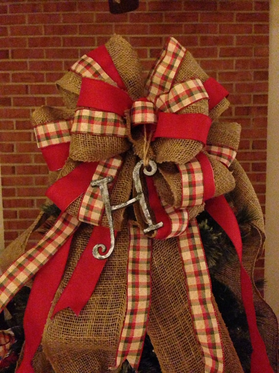 Personalized Burlap, Red, and Plaid Ribbon Bow Topper