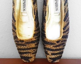 80s-90s Beaded Tiger Stripe Small Heels, by Caparros