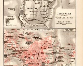 1898 Jerusalem Old City, Antique Map, Vintage Lithograph, Antique Print, History of Jerusalem, Ancient Jerusalem, Israel, Palestine