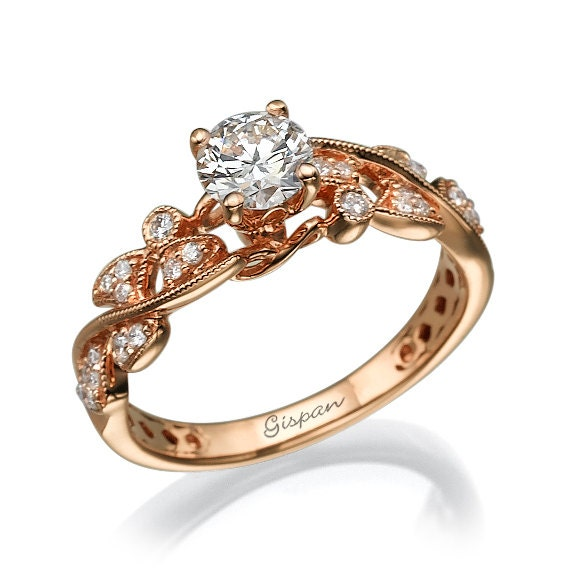Rose Gold Engagement Ring Leaves Engagement ring Antique