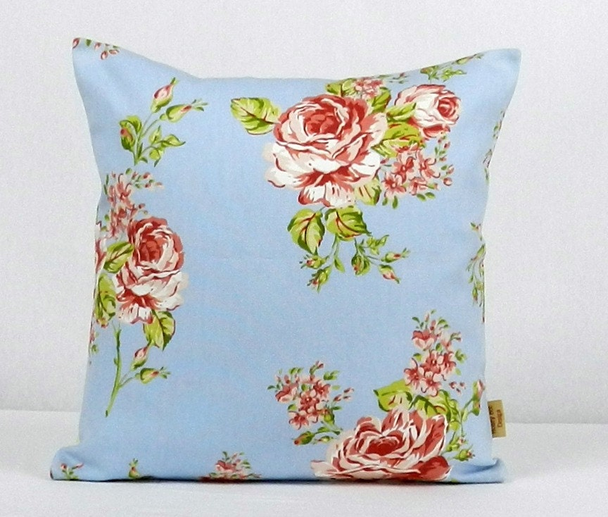 16x16 pillow Decorative Throw pillow English Rose Blue