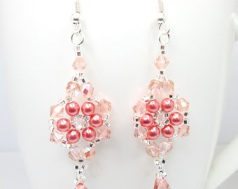 Peach floral earrings, peach and silver, peach earrings, peach wedding earrings, flower earrings, pearl flower, bridal earrings ER002