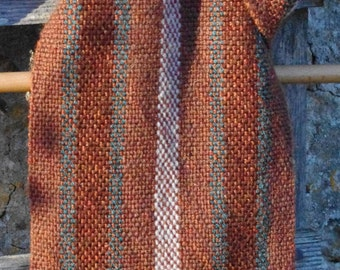 Brown and Green Striped Scarf