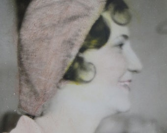 Cute 1930's Smiling Woman Hand Colored Profile Snapshot Photo - Free Shipping