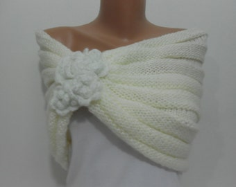 Knitted Cream Shawl Scarf Chunky Knit Scarf Ascot Neck Warmer Cream Winter Wedding Women Fashion Accessories Gift Ideas For Her SCARFCLUB