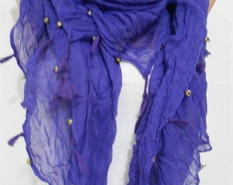 Tassel scarf Cowl scarf Purple scarf shawl Cotton scarf with golden beads Fall Winter Women Fashion Accessory Holiday Christmas Gift For Her