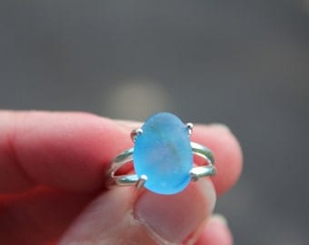 Authentic Blue English Sea Glass Sterling Silver Ring - size 7