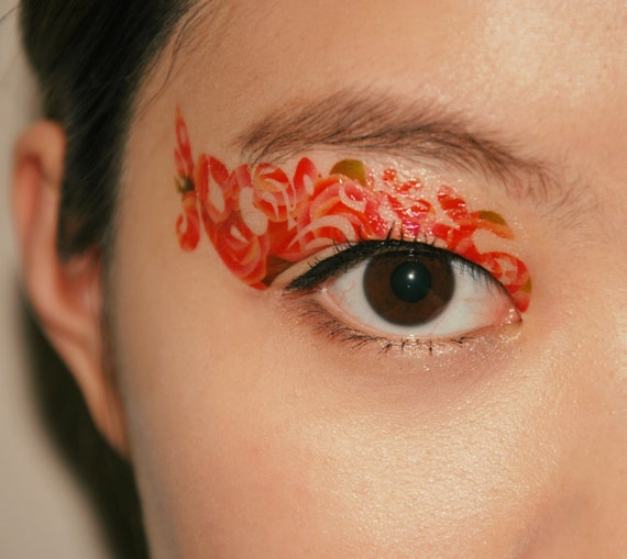 Temporary tattoo makeup eyes eyeshadow peach orange blossom for Eye temporary tattoo makeup