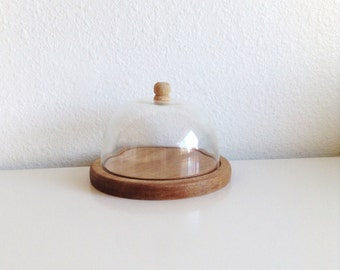 Vintage Plastic Cloche Dome & Wood Base, Made In Japan