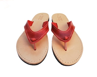 Red flip flop, women's leather sandals, summer shoes