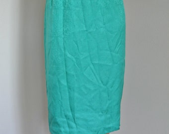 1980s Silk Skirt Kelly Green Pencil Skirt Straight Wiggle Size 10P