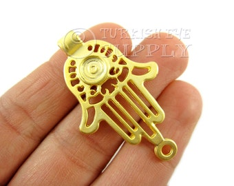 Gold Hamsa Connector, 22K Gold Plated Hand of Fatima Bracelet Connector,