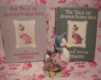 "Beatrix Potter Jemima Puddle-duck Figurine with two Beatrix Potter Book ""The Tale of Jemima Puddle-Duck"""