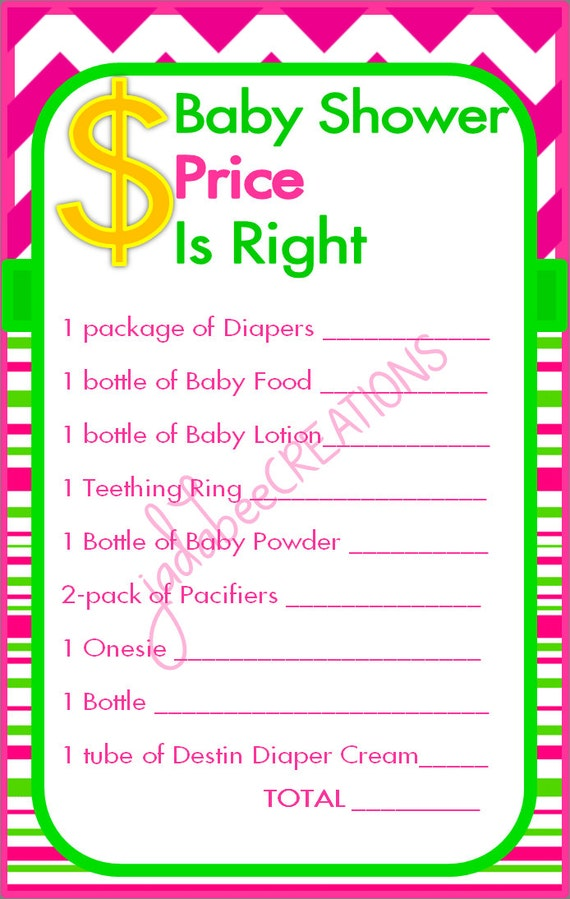 similar to baby shower price is right game pink green on etsy