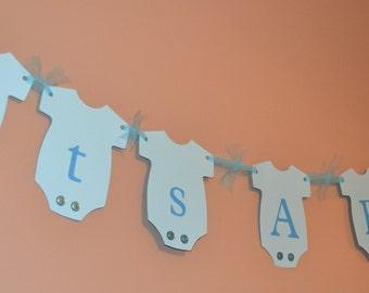 Its a Boy Banner / Sign / Garland - BLUE Onesies - Baby Shower Decorations, Onesie banner